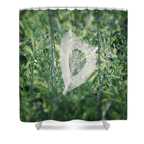 Hearts In Nature - Heart Shaped Web Shower Curtain