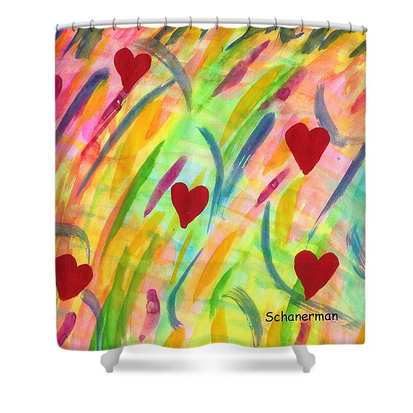 heARTs of Spring Shower Curtain