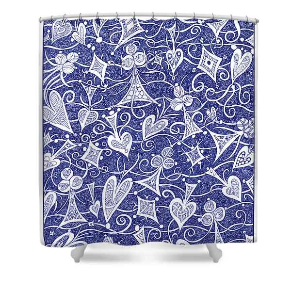 Hearts, Spades, Diamonds And Clubs In Blue Shower Curtain
