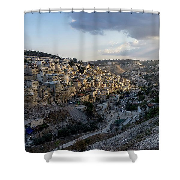 Heaven Shines On The City Of David Shower Curtain