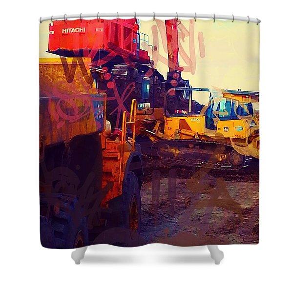 Heavy Equipment Graffiti Shower Curtain