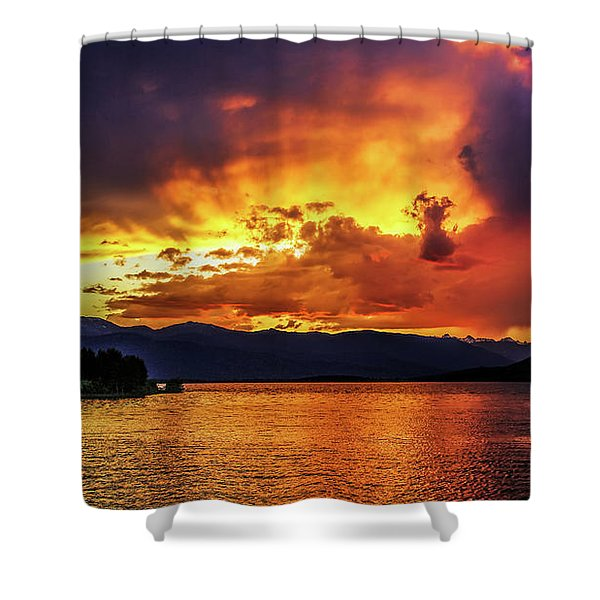 Hebgen Lake Sunset Shower Curtain