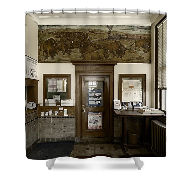 Hebron Nebraska Post Office Mural Shower Curtain