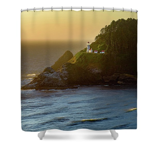 Heceta Head Lighthouse At Sunset Shower Curtain