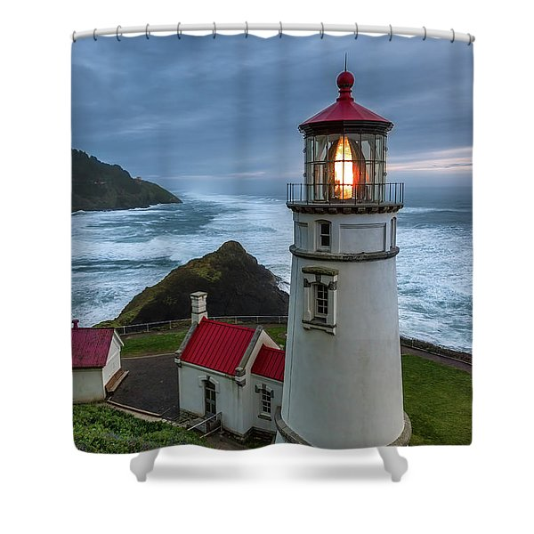 Heceta Head Lighthouse Evening Shower Curtain