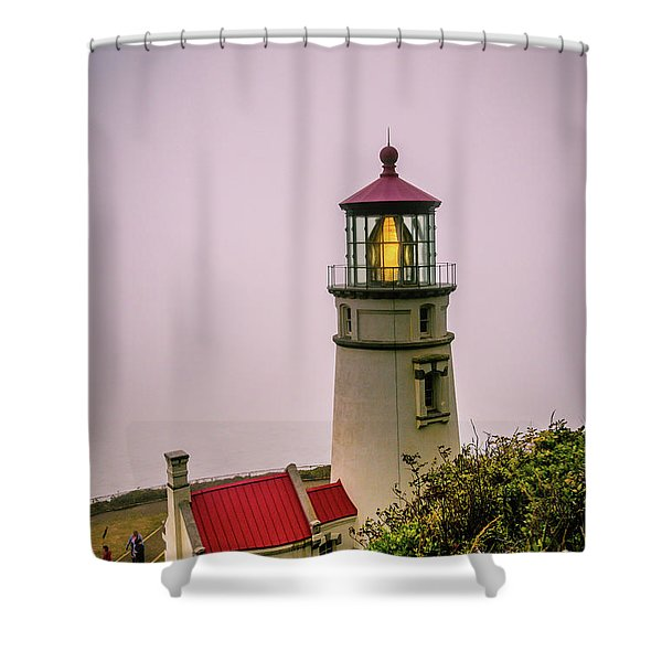 Heceta Head Lighthouse In The Fog Shower Curtain