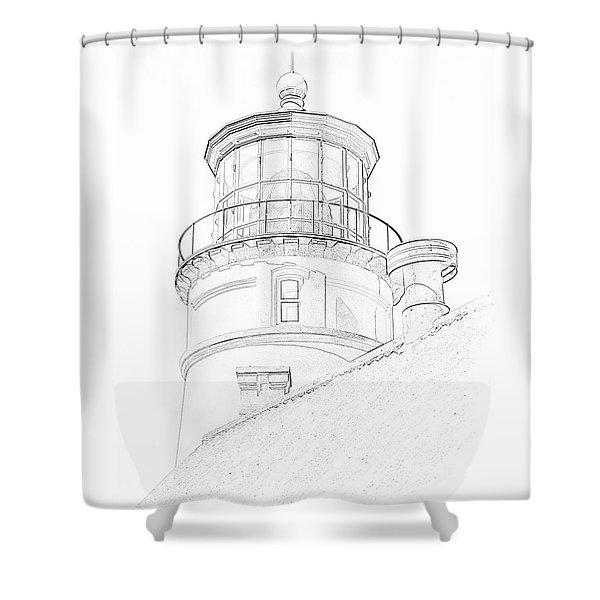 Hecitia Head Lighthouse Sketch Shower Curtain