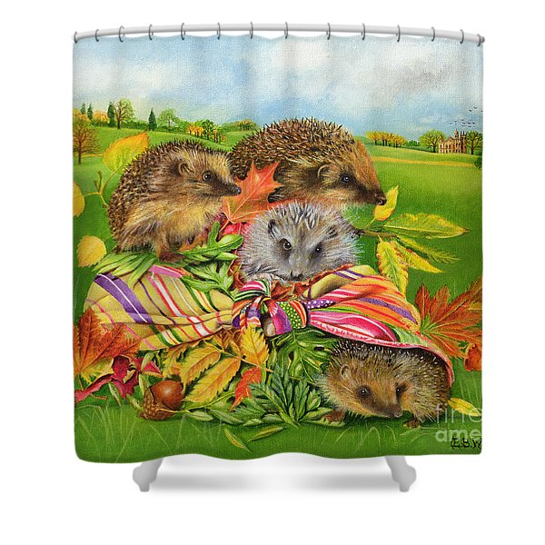 Hedgehogs Inside Scarf Shower Curtain
