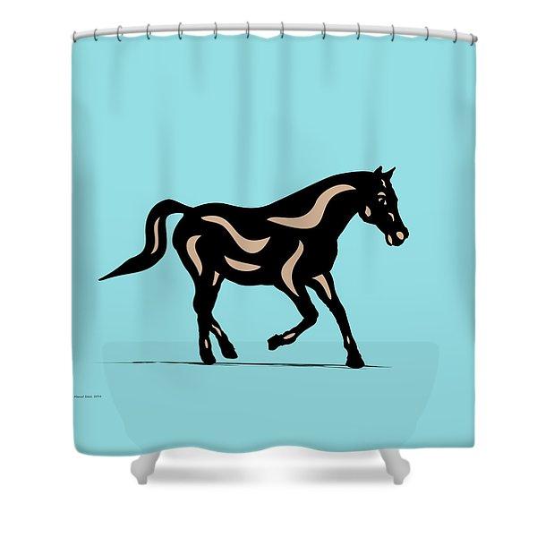 Heinrich - Pop Art Horse - Black, Hazelnut, Island Paradise Blue Shower Curtain