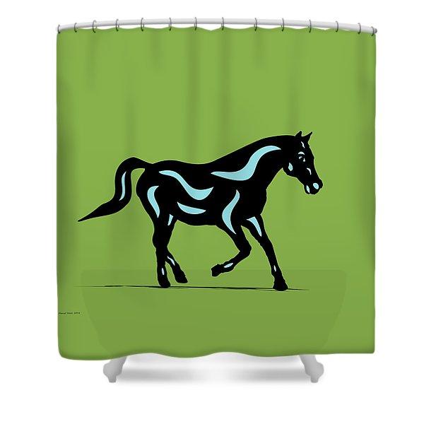Heinrich - Pop Art Horse - Black, Island Paradise Blue, Greenery Shower Curtain