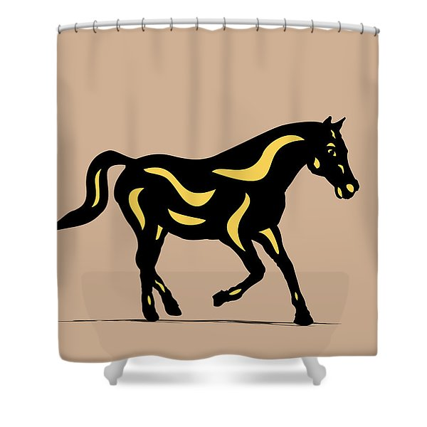 Heinrich - Pop Art Horse - Black, Primrose Yellow, Hazelnut Shower Curtain