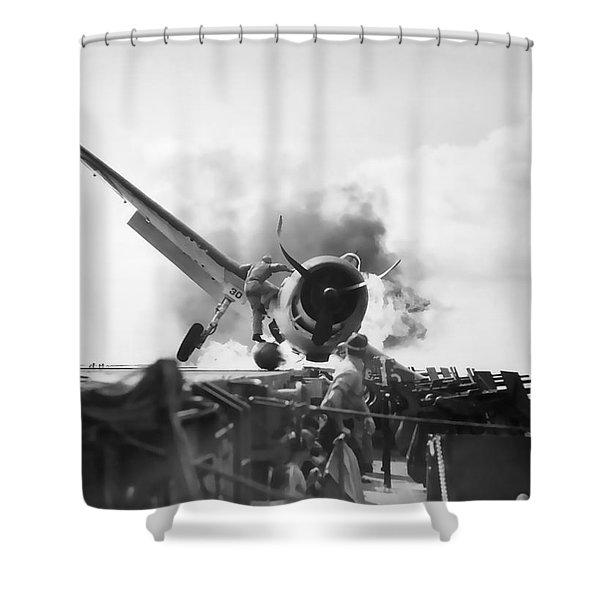 Hellcat Aircraft Slams Into U S S Enterprise Carrier  1943 Shower Curtain