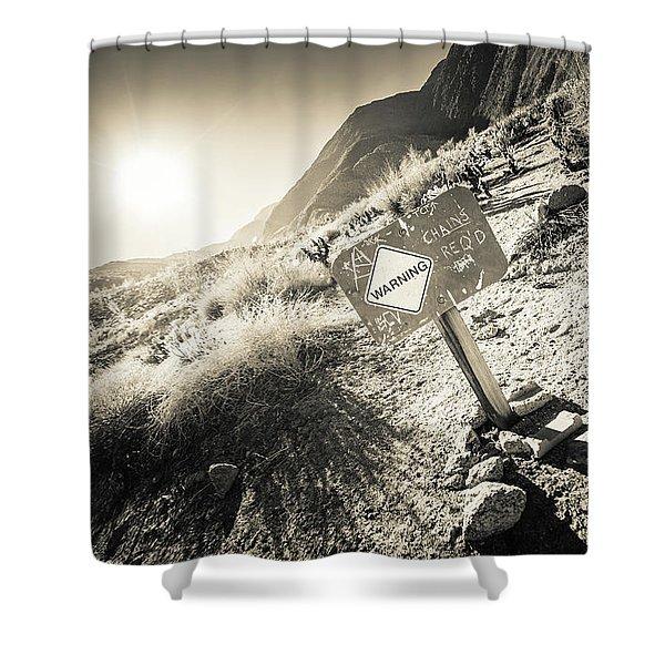 Hellhole Canyon Warning Shower Curtain