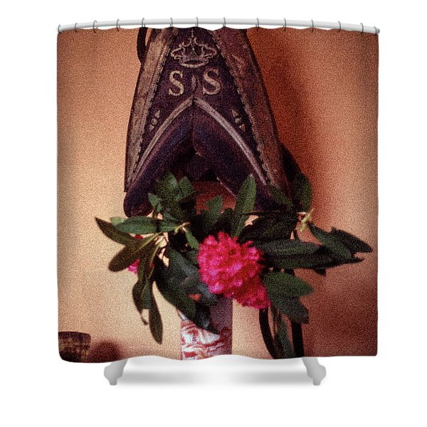 Helmet And Flower Shower Curtain