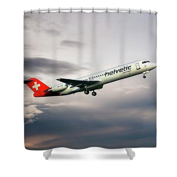 Helvetic Airways Fokker 100 Shower Curtain