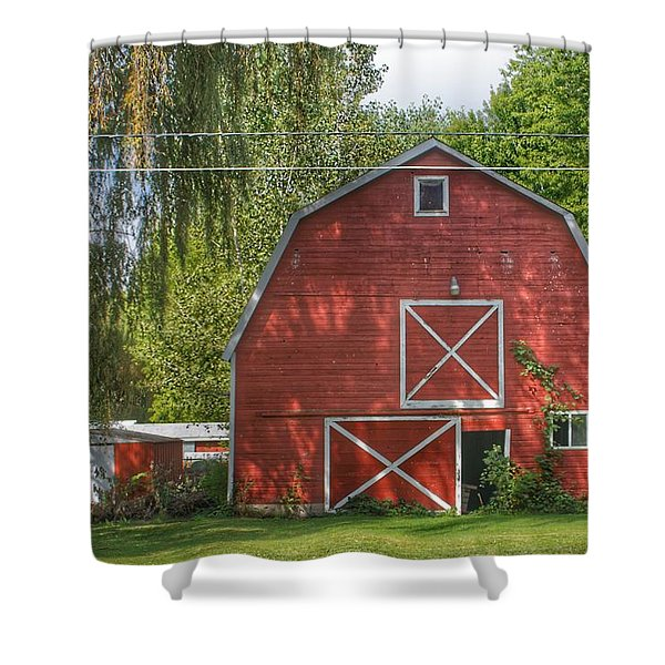 0018 - Henderson Road Red I Shower Curtain