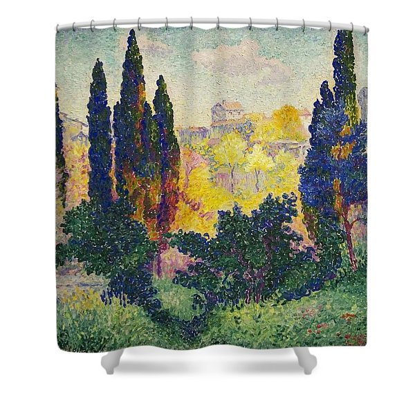 Henri Edmond Cross French Les Cypres A Cagnes Shower Curtain