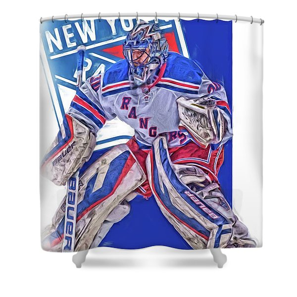 Henrik Lundqvist New York Rangers Oil Art Shower Curtain