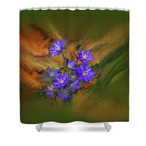 Hepatica Nobilis Painterly #h4 Shower Curtain