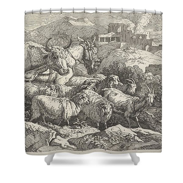 Herd Of Animals Near Ruins, Govert Van Der Leeuw, 1655 - 1688 Shower Curtain