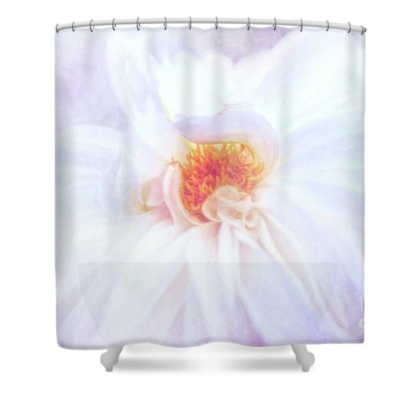 Here Comes The Bride - A Beautiful White Dahlia Shower Curtain