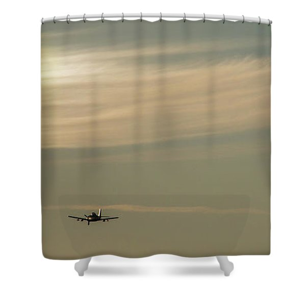 Here We Go Into The Wild Blue Yonder Shower Curtain