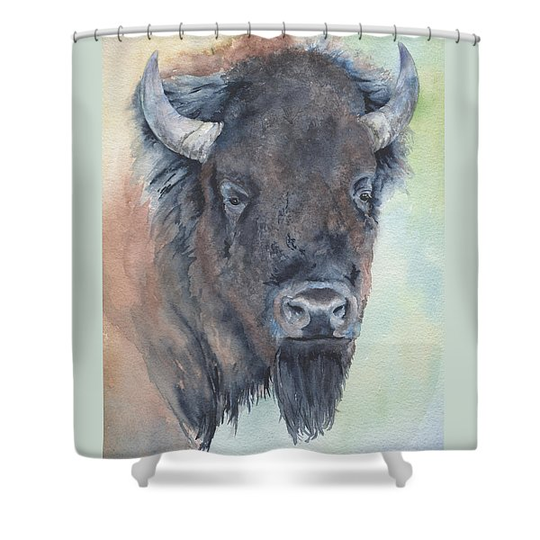Here's Looking At You - Bison Shower Curtain