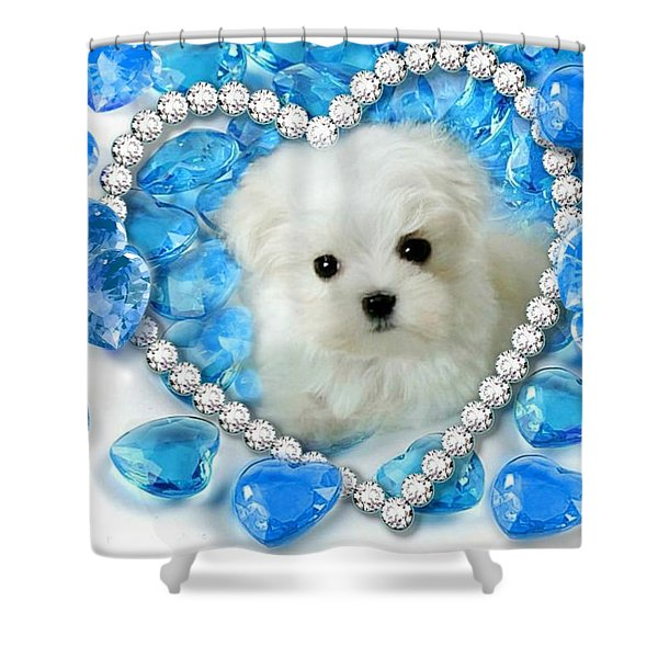 Hermes The Maltese And Blue Hearts Shower Curtain