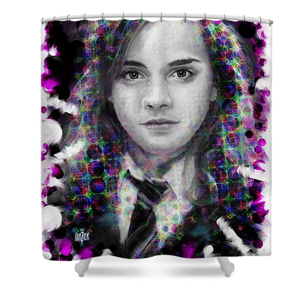 Hermione Granger Halftone Portrait Shower Curtain