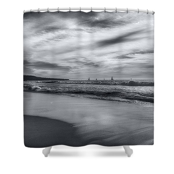 Hermosa Evening Black And White Shower Curtain