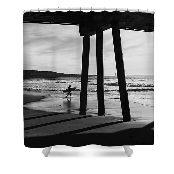 Hermosa Surfer Under Pier Shower Curtain