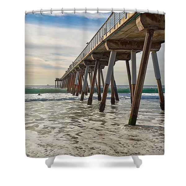 Shower Curtain featuring the photograph Hermosa Under The Pier by Michael Hope