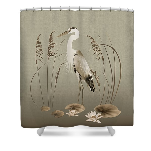 Heron And Lotus Flowers Shower Curtain