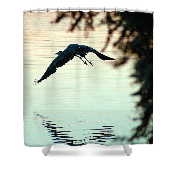 Heron At Dusk Shower Curtain