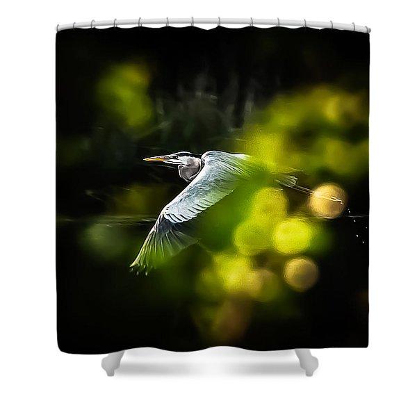 Heron Launch Shower Curtain