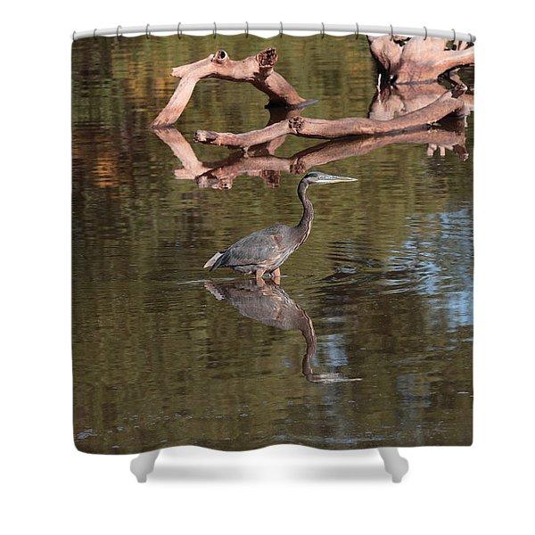 Heron Reflection Shower Curtain