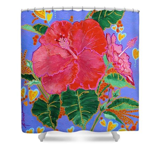 Hibiscus Motif Shower Curtain