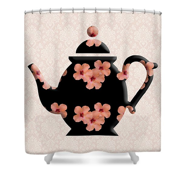 Hibiscus Pattern Teapot Shower Curtain