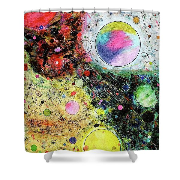 Shower Curtain featuring the mixed media Hidden Aliens by Michael Lucarelli