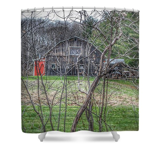 0019 - Hidden Capac Grey Shower Curtain