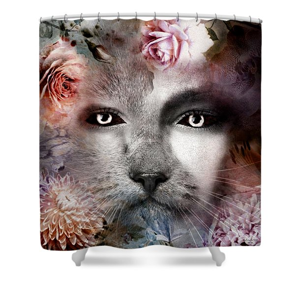 Hiding Catlady Shower Curtain