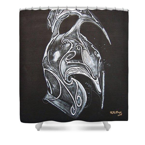 High Elven Warrior Helmet Shower Curtain