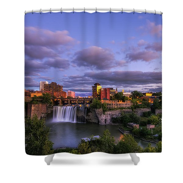High Falls Dusk Shower Curtain