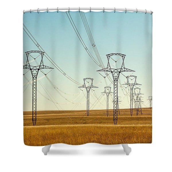 High Voltage Power Lines Shower Curtain