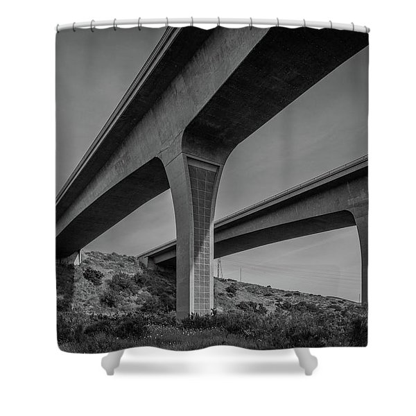 Highway 52 Over Spring Canyon, Black And White Shower Curtain