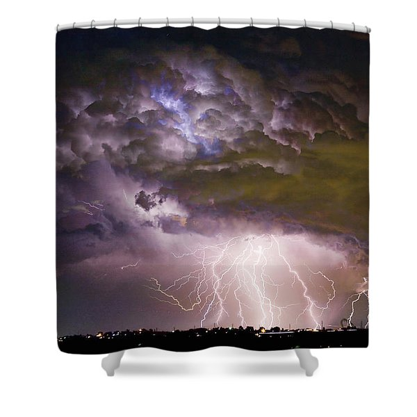 Highway 52 Storm Cell - Two And Half Minutes Lightning Strikes Shower Curtain