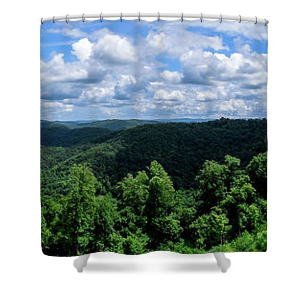 Shower Curtain featuring the photograph Hills And Clouds by Lester Plank