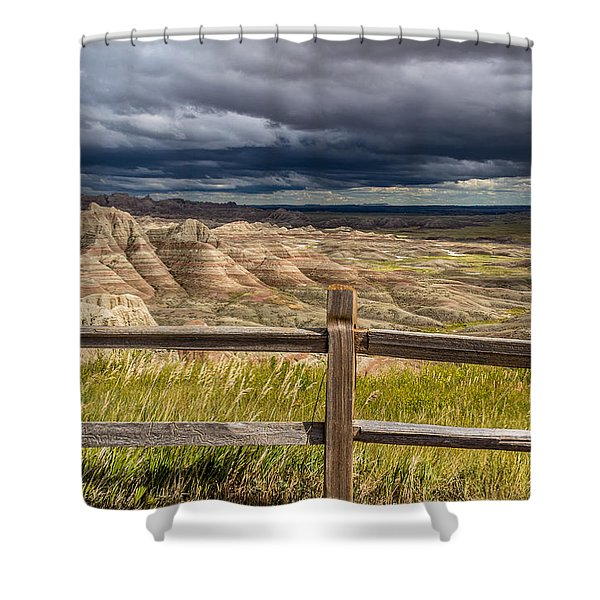 Hills Behind The Fence Shower Curtain