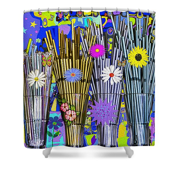 Shower Curtain featuring the digital art Hippie Hippie Straws by Eleni Mac Synodinos