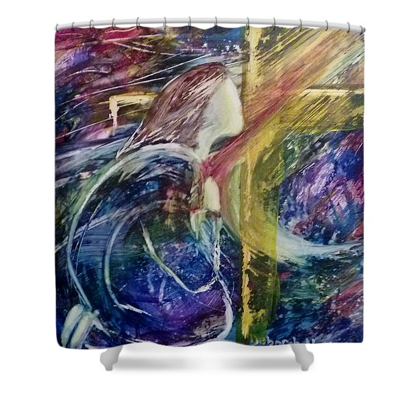 Shower Curtain featuring the painting His Grace Is Over Me by Deborah Nell
